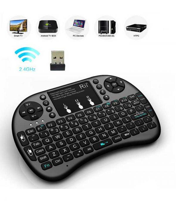 Riitek Rii mini i8+ Ασύρματο Πληκτρολόγιο με Touchpad, 2.4GHz