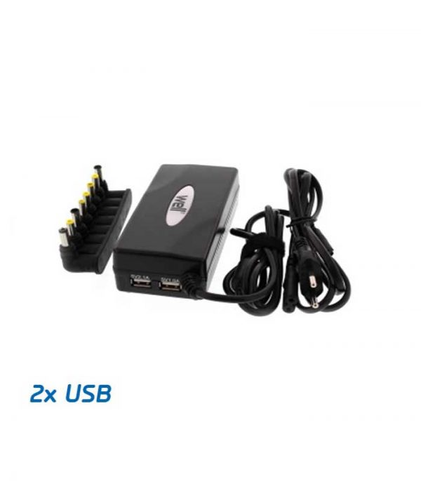 WELL Universal Φορτιστής για Laptop 90W x 2 USB 8tips