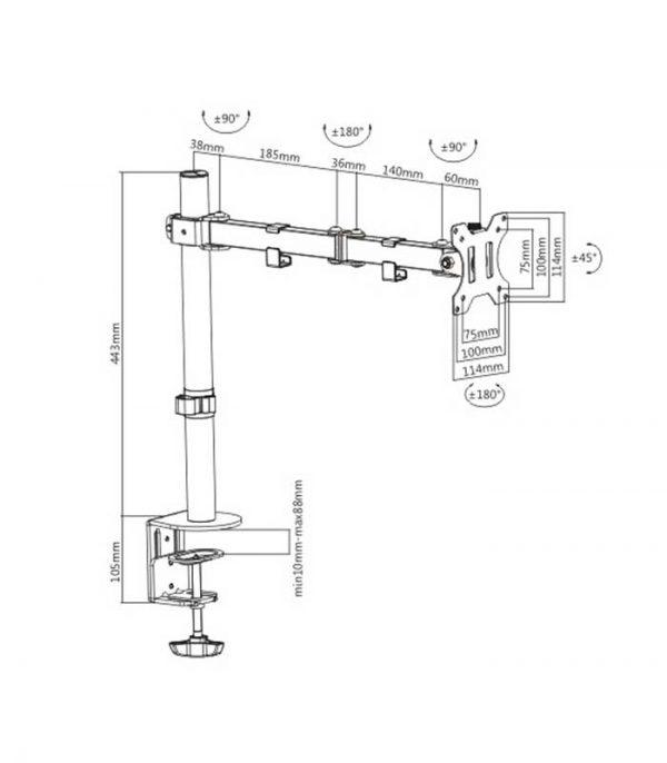 "BRATECK LDT12-C012N universal βάση για οθόνη 13""-32"", 8kg"