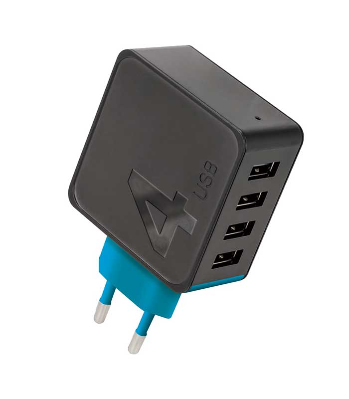 Forever TC-04 4xUSB Wall Charger 4.8A - Μαύρο
