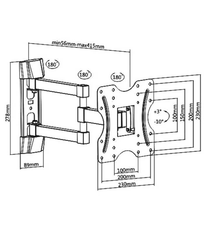 "Brateck Επιτοίχια Βάση Διπλού Βραχίονα KLA27-223 για Monitor 23"" - 42"" 30kg"