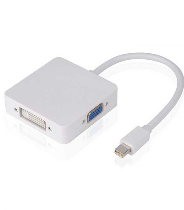 Powertech Adapter Mini Display Port (M) σε HDMI 1.4v/DVI/VGA - Λευκό