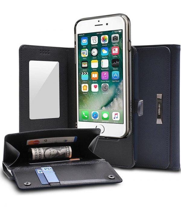 Ringke δερμάτινο πορτοφόλι και θήκη 2 σε 1 για Samsung Galaxy S8 Plus - Μπλέ