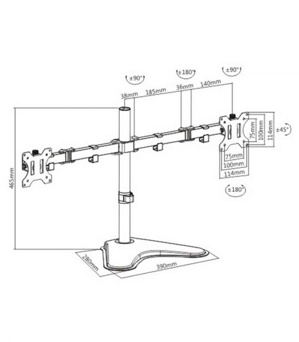 """Brateck LDT12-T024N universal βάση TV για 2 οθόνες 13"""" - 32"""", 2x 8kg"""
