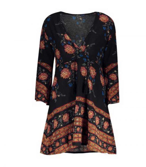 Mini Floral φόρεμα σε γραμμή Α - Μαύρο - S