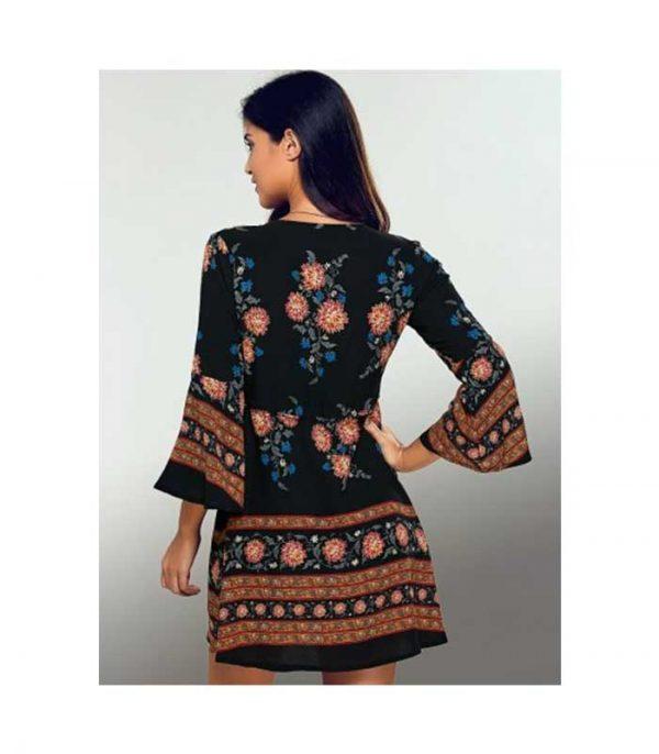 1748b12b029 Mini Floral φόρεμα σε γραμμή Α - Μαύρο - S - MrBig.gr