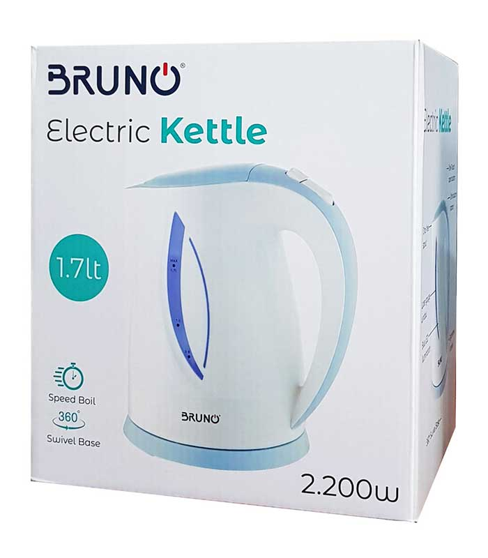BRUNO Ηλεκτρικός βραστήρας 1.7lt, 2200W, βάση 360° LED - Λευκό/Μπλέ