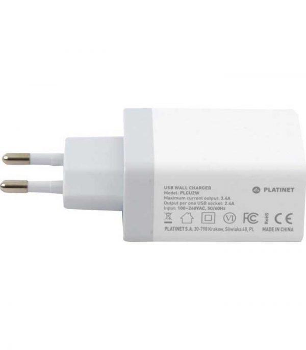 Platinet Φορτιστής 2x USB 3.4A με Καλώδιο MicroUSB 1m - Λευκό