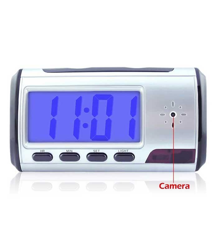 Επιτραπέζιο ψηφιακό ρολόι με κρυφή κάμερα - Ασημί