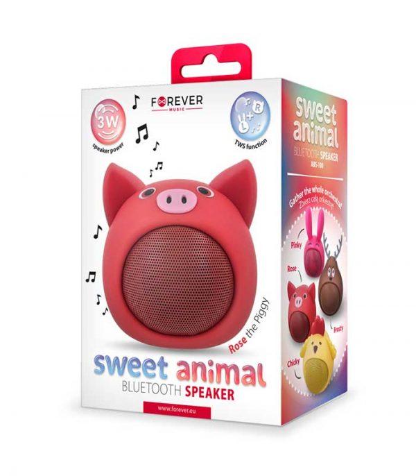 Forever Sweet Animal Pig Rose ABS-100 Bluetooth Speaker