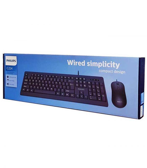 PHILIPS set ποντίκι & πληκτρολόγιο SPT6224, ενσύρματα, 1600 dpi - Μαύρο
