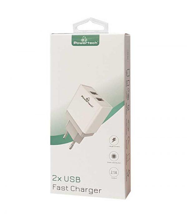 Powertech PT-760 Φορτιστής 2x USB, 2.1A - Λευκό