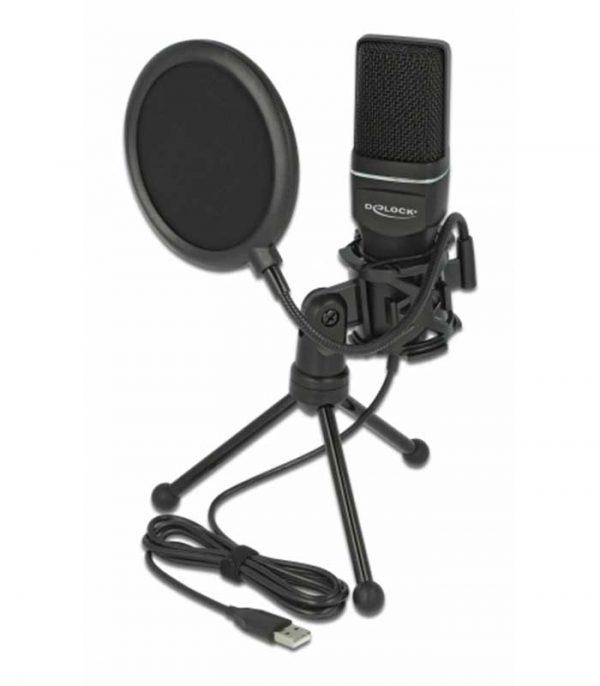 DELOCK Mικρόφωνο studio με pop φίλτρο & αντιανέμιο 66331, πυκνωτικό, USB