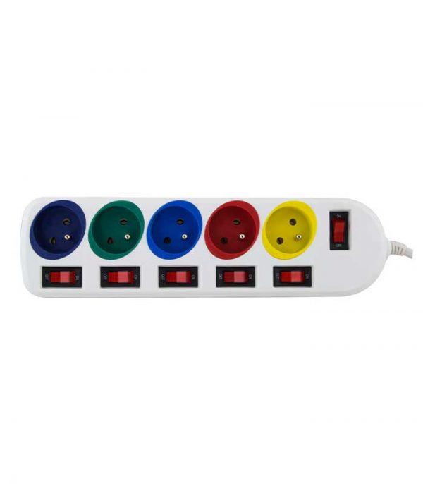 Esperanza ELK101 Rainbow Pro Πολύπριζο Ασφαλείας 5 Θέσεων με προστασία υπέρτασης, διακόπτης on/off, 1,5m - Λευκό
